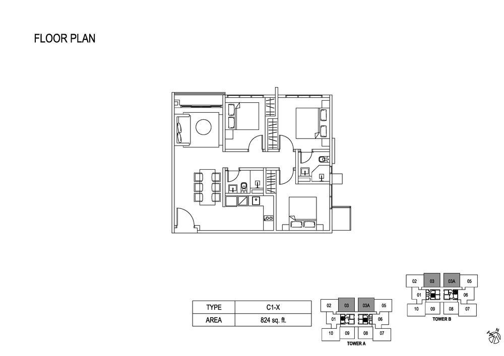 Fera Residence @ The Quartz Type C1-X Floor Plan