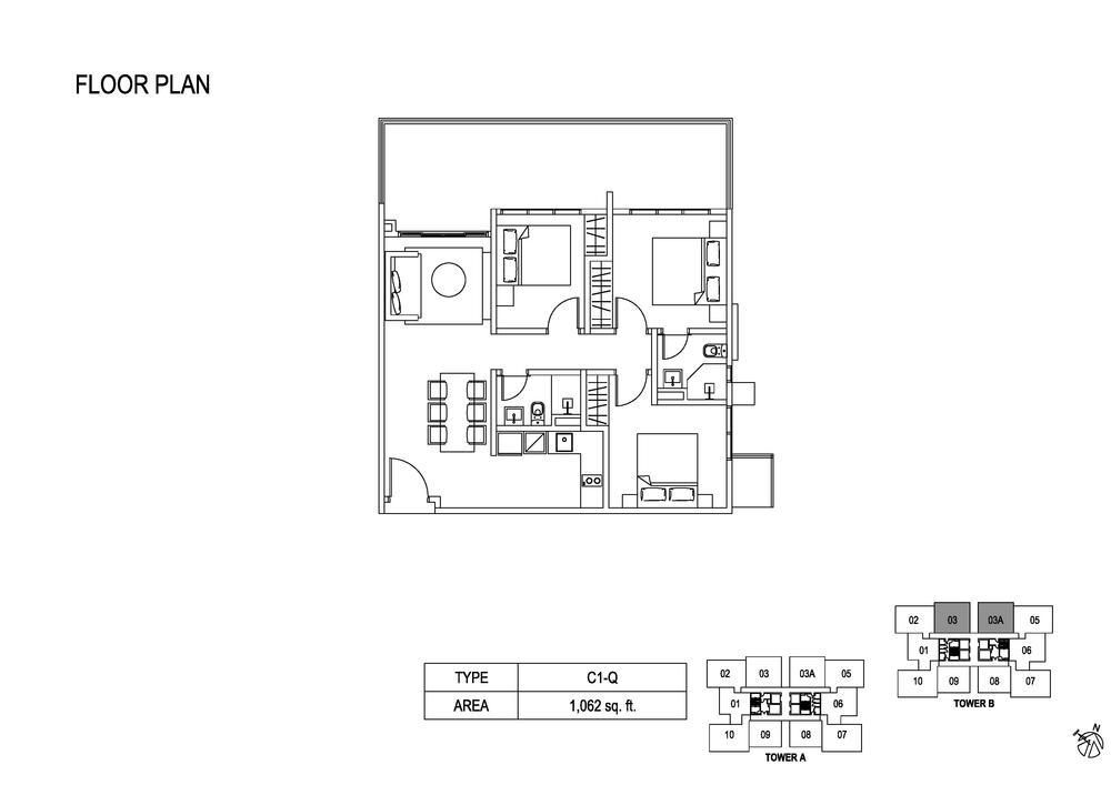 Fera Residence @ The Quartz Type C1-Q Floor Plan