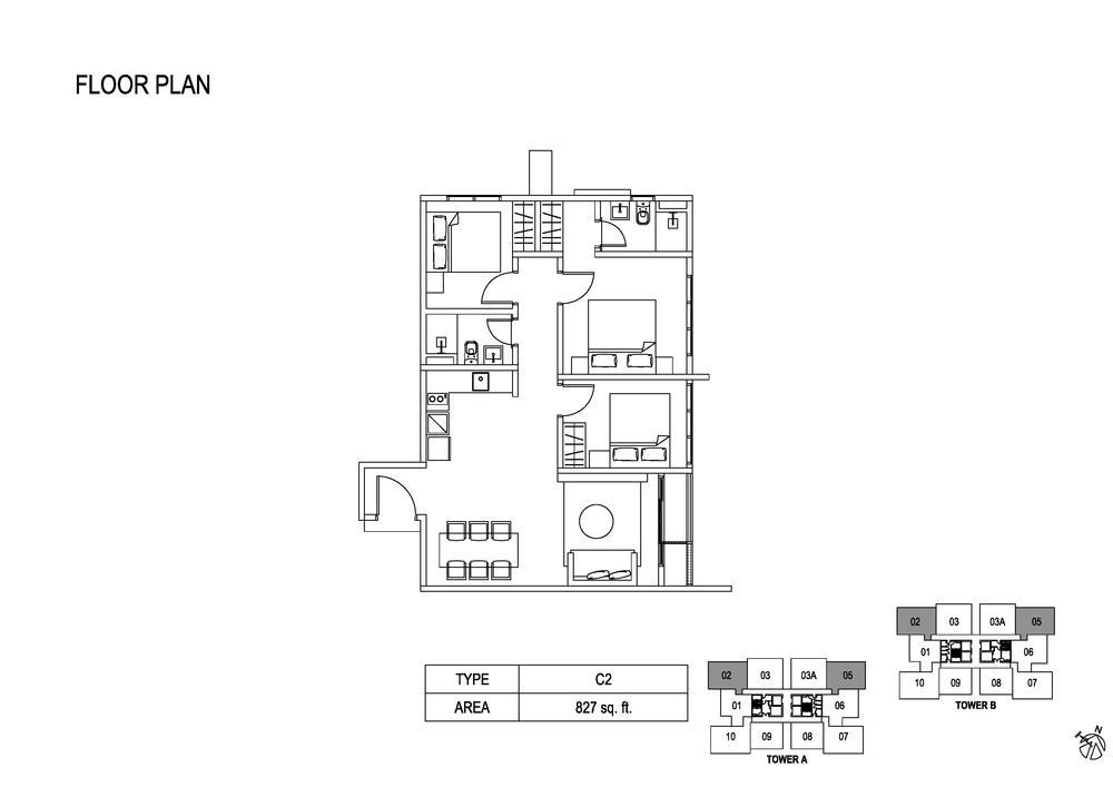 Fera Residence @ The Quartz Type C2 Floor Plan