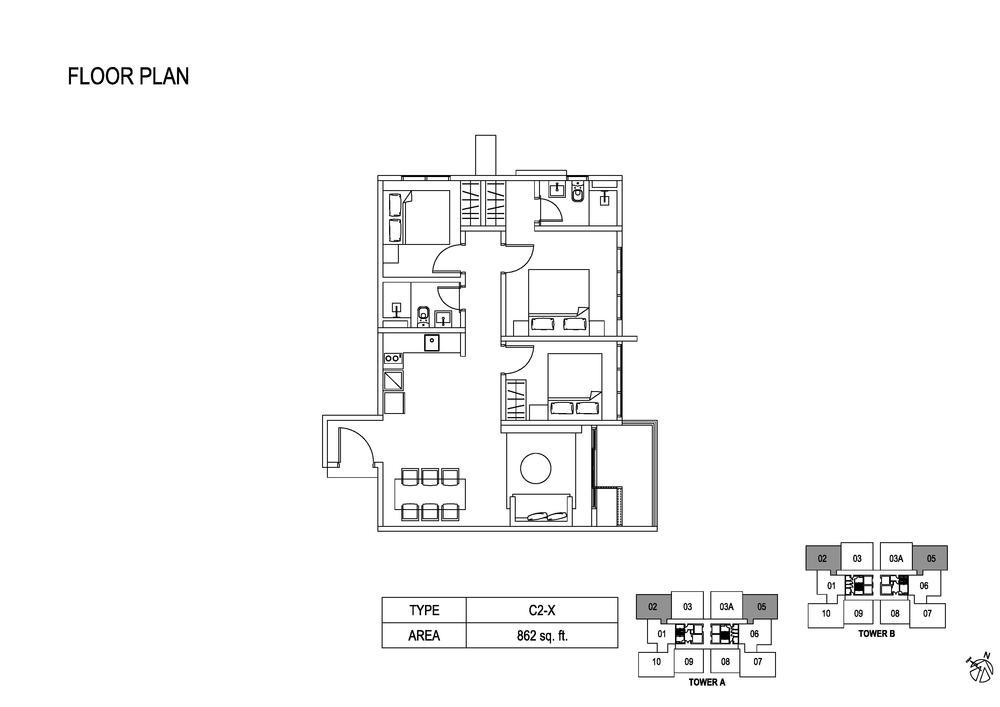 Fera Residence @ The Quartz Type C2-X Floor Plan