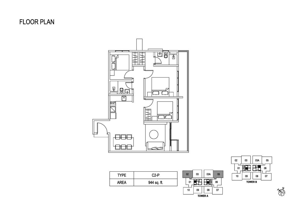 Fera Residence @ The Quartz Type C2-P Floor Plan