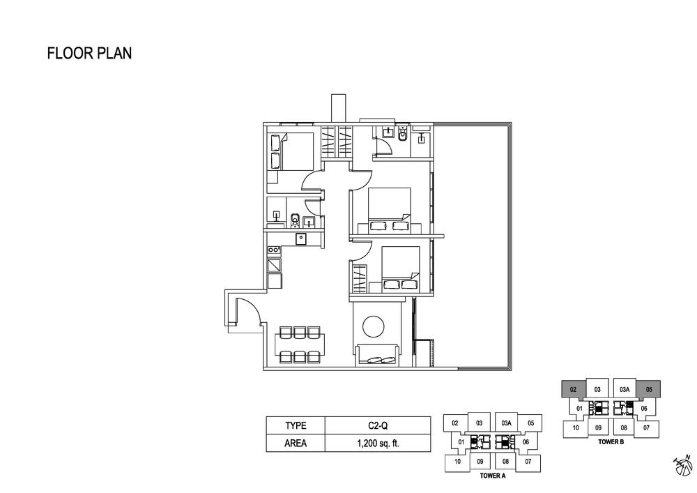 Fera Residence @ The Quartz Type C2-Q Floor Plan