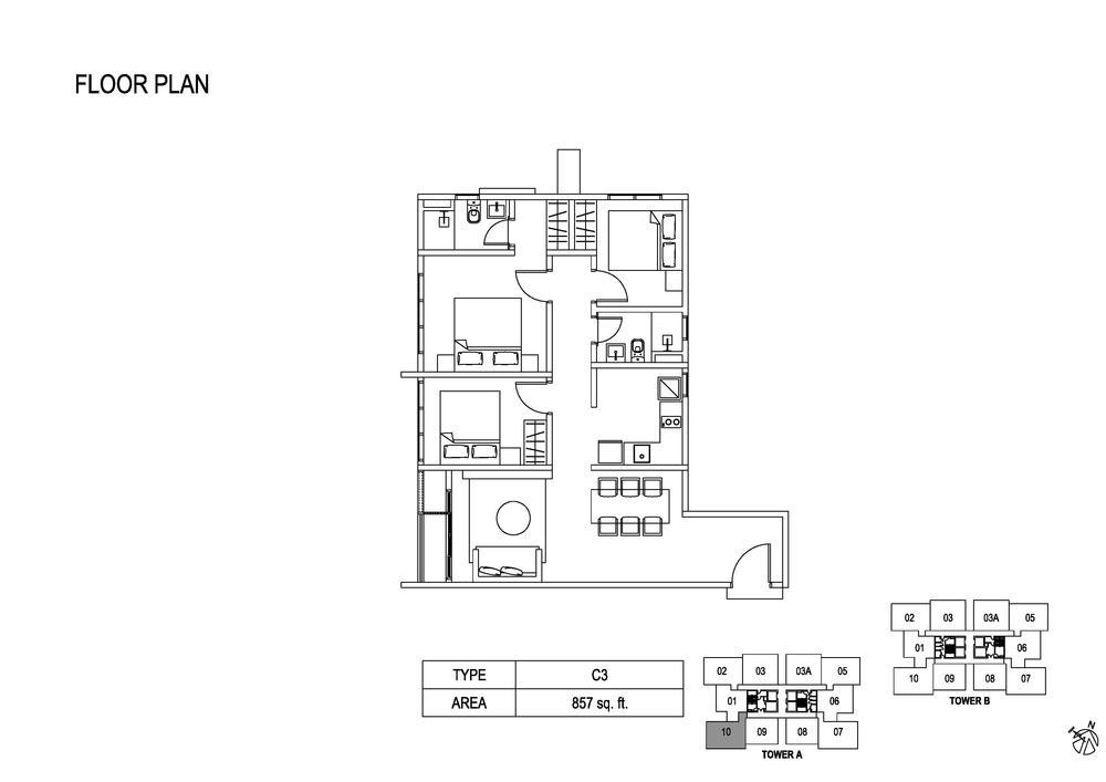 Fera Residence @ The Quartz Type C3 Floor Plan