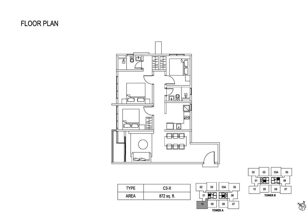 Fera Residence @ The Quartz Type C3-X Floor Plan