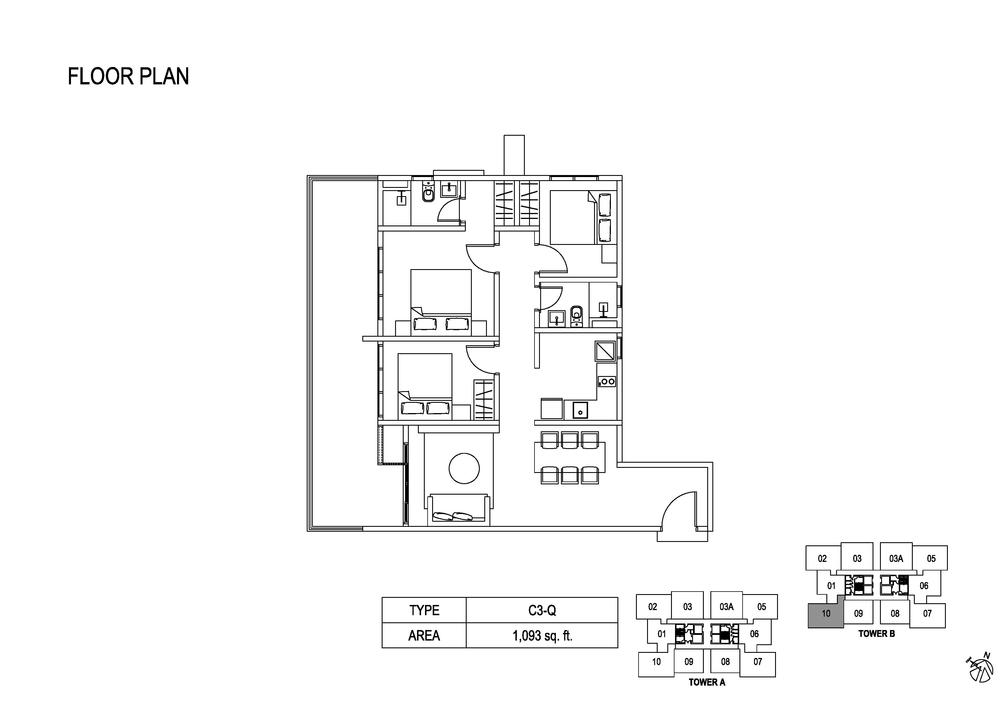 Fera Residence @ The Quartz Type C3-Q Floor Plan
