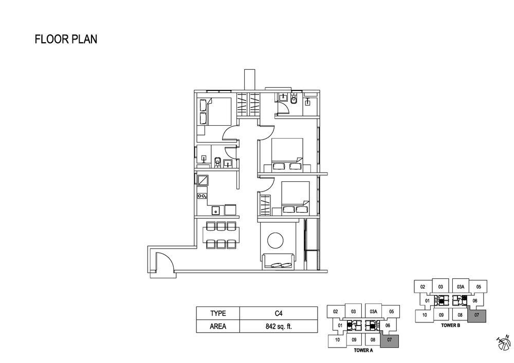 Fera Residence @ The Quartz Type C4 Floor Plan
