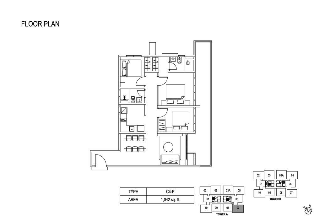 Fera Residence @ The Quartz Type C4-P Floor Plan