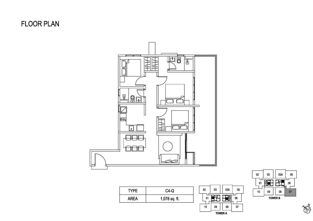 Fera Residence @ The Quartz Type C4-Q Floor Plan