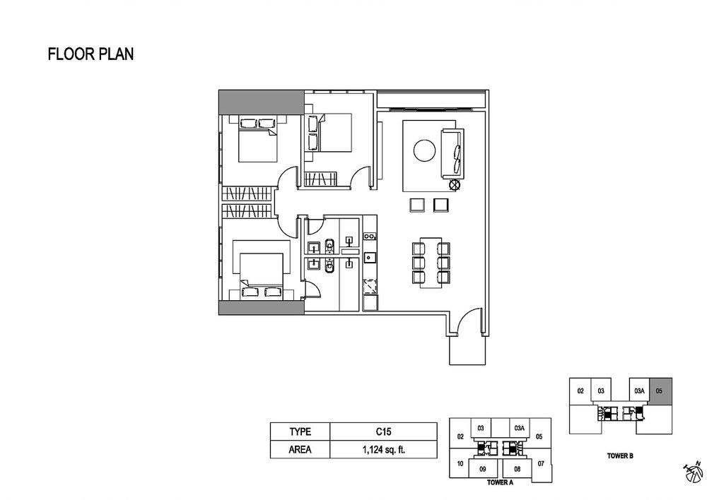 Fera Residence @ The Quartz Type C15 Floor Plan
