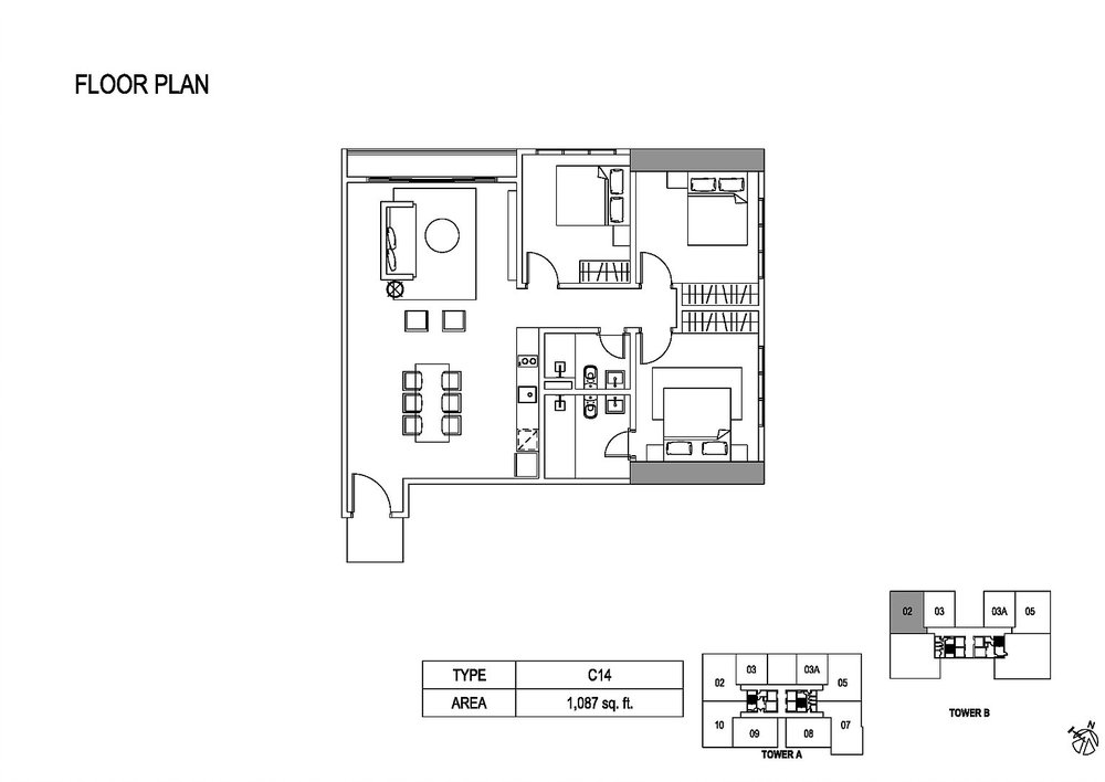 Fera Residence @ The Quartz Type C14 Floor Plan