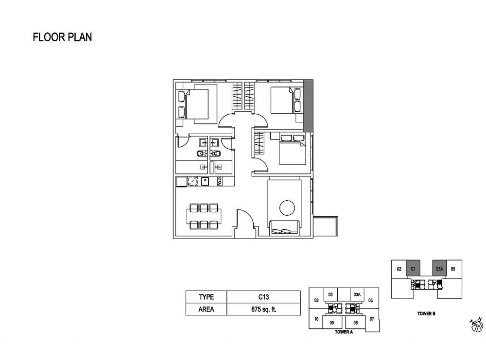 Fera Residence @ The Quartz Type C13 Floor Plan