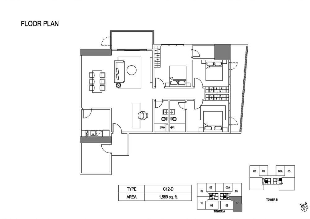 Fera Residence @ The Quartz Type C12-D Floor Plan