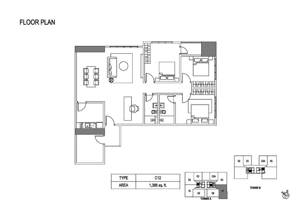 Fera Residence @ The Quartz Type C12 Floor Plan