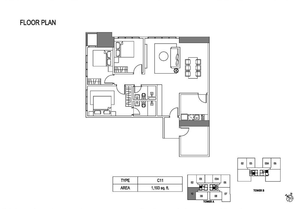Fera Residence @ The Quartz Type C11 Floor Plan