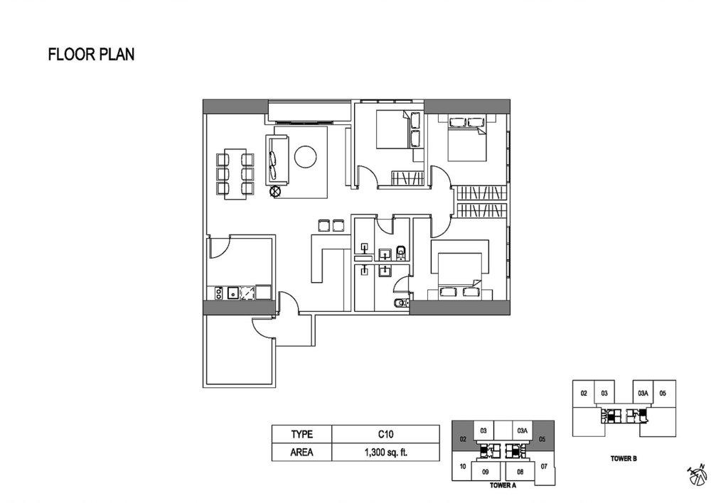 Fera Residence @ The Quartz Type C10 Floor Plan