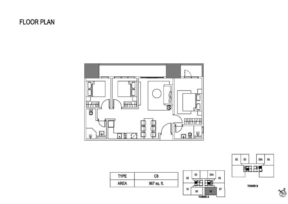 Fera Residence @ The Quartz Type C8 Floor Plan