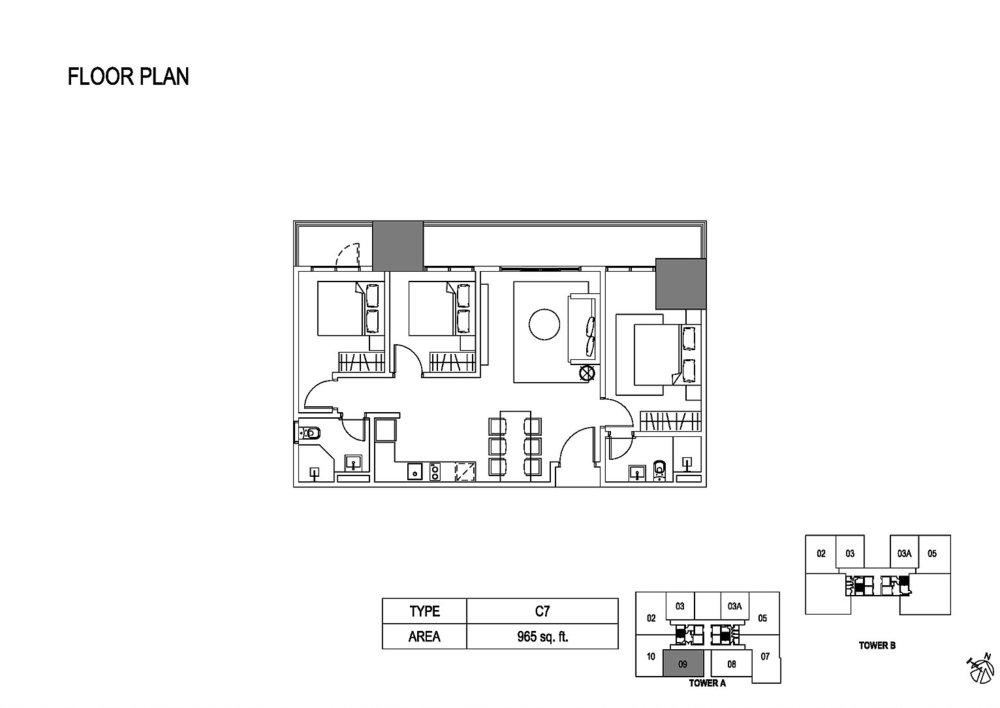 Fera Residence @ The Quartz Type C7 Floor Plan
