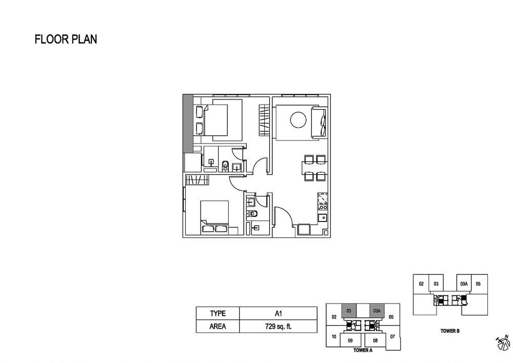 Fera Residence @ The Quartz Type A1 Floor Plan