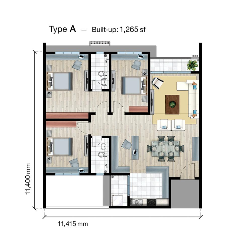 SkyVue Residence Type A Floor Plan