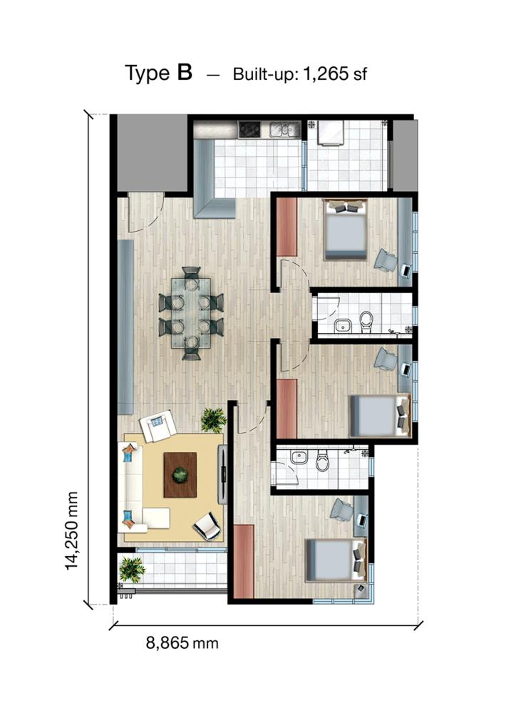 SkyVue Residence Type B Floor Plan
