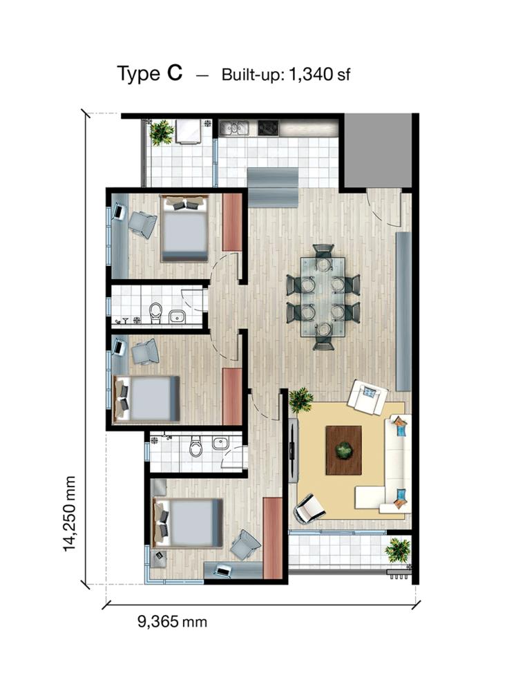 SkyVue Residence Type C Floor Plan