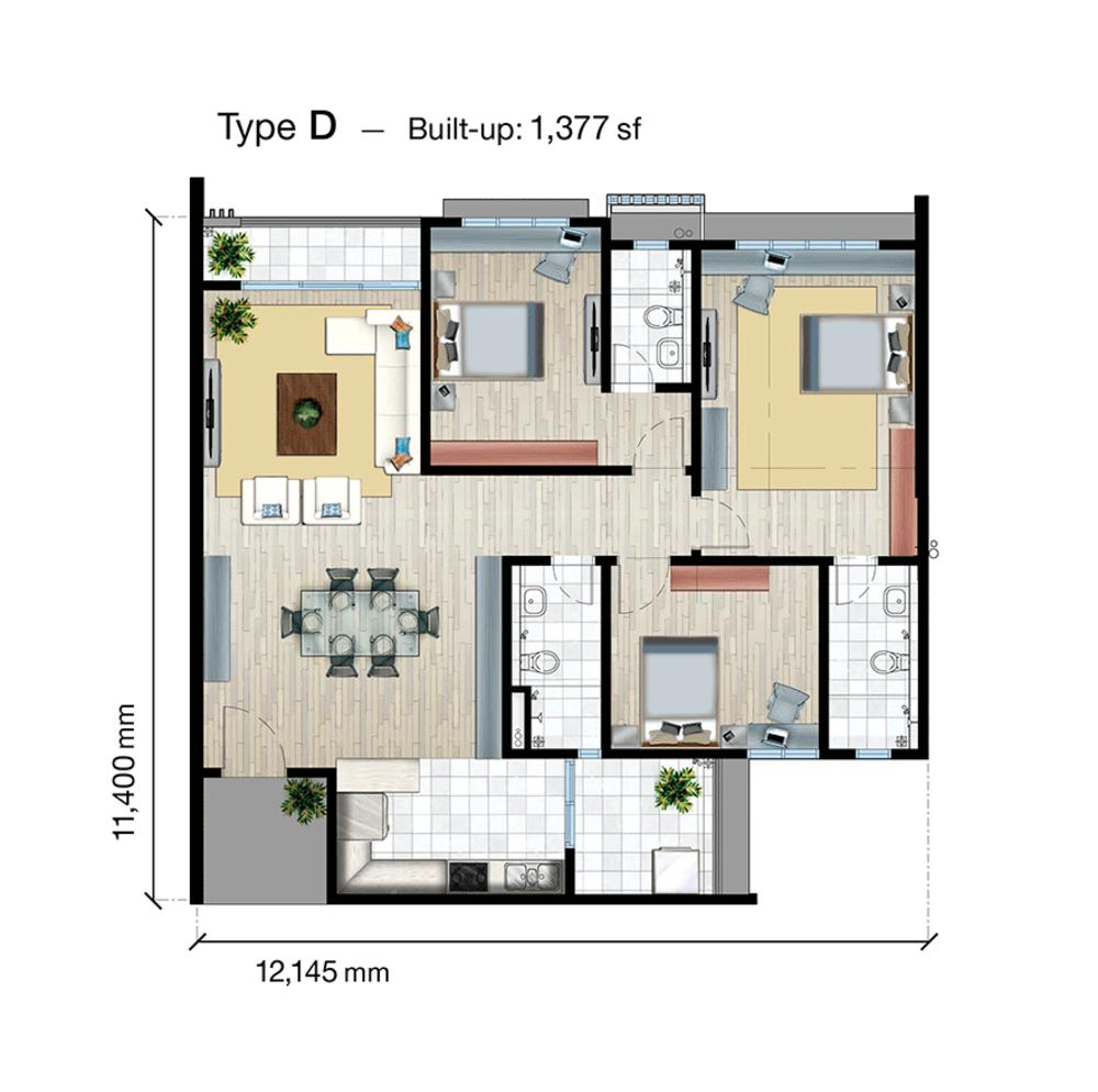 SkyVue Residence Type D Floor Plan