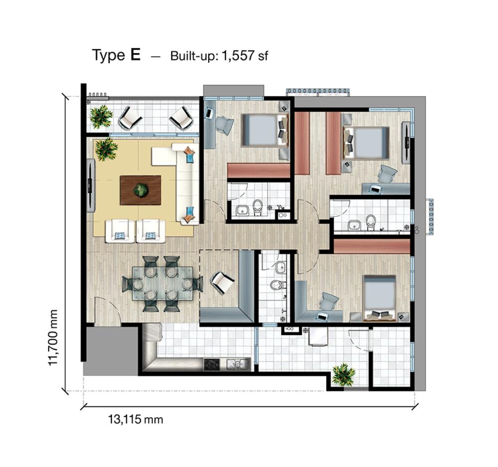 SkyVue Residence Type E Floor Plan