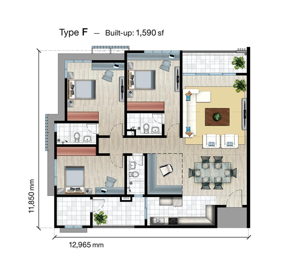 SkyVue Residence Type F Floor Plan