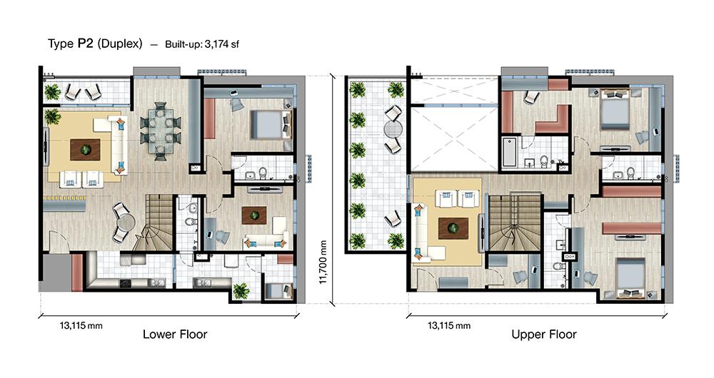 SkyVue Residence Type P2 Floor Plan