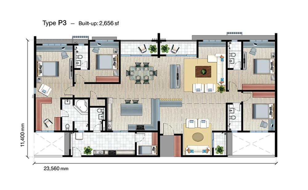 SkyVue Residence Type P3 Floor Plan