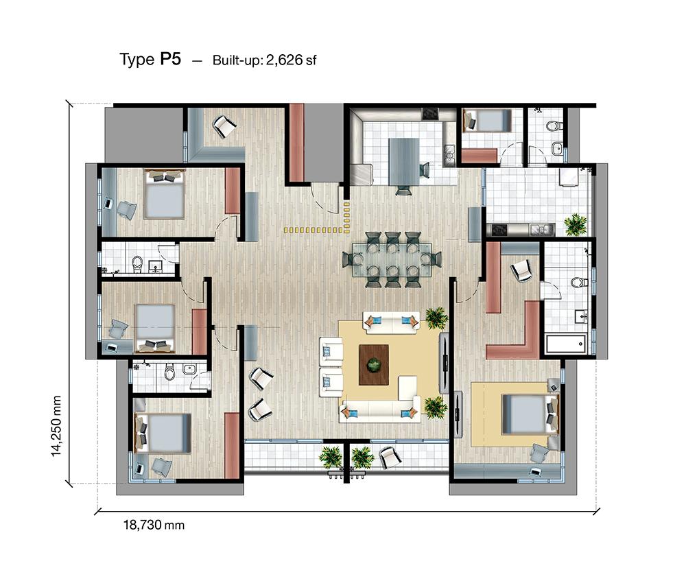 SkyVue Residence Type P5 Floor Plan