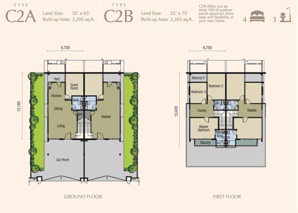 M Residence 2 Caspia - Type C2A & C2B Floor Plan