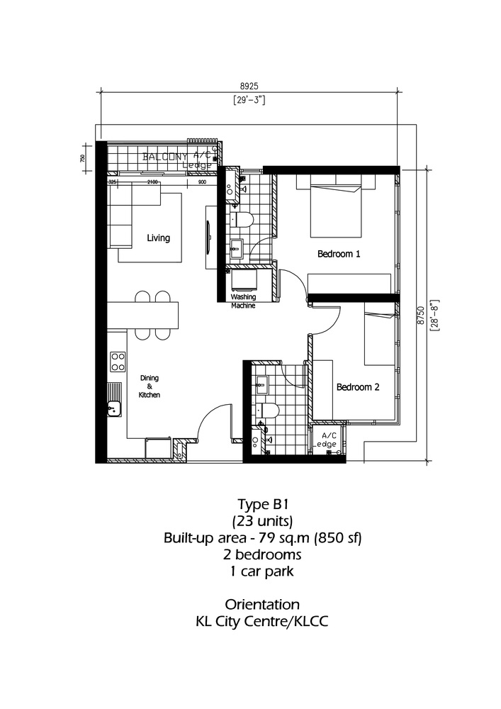 Rica Residence Type B1 Floor Plan