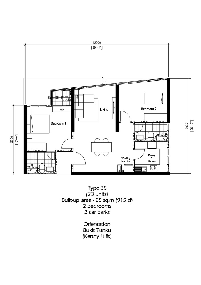 Rica Residence Type B5 Floor Plan