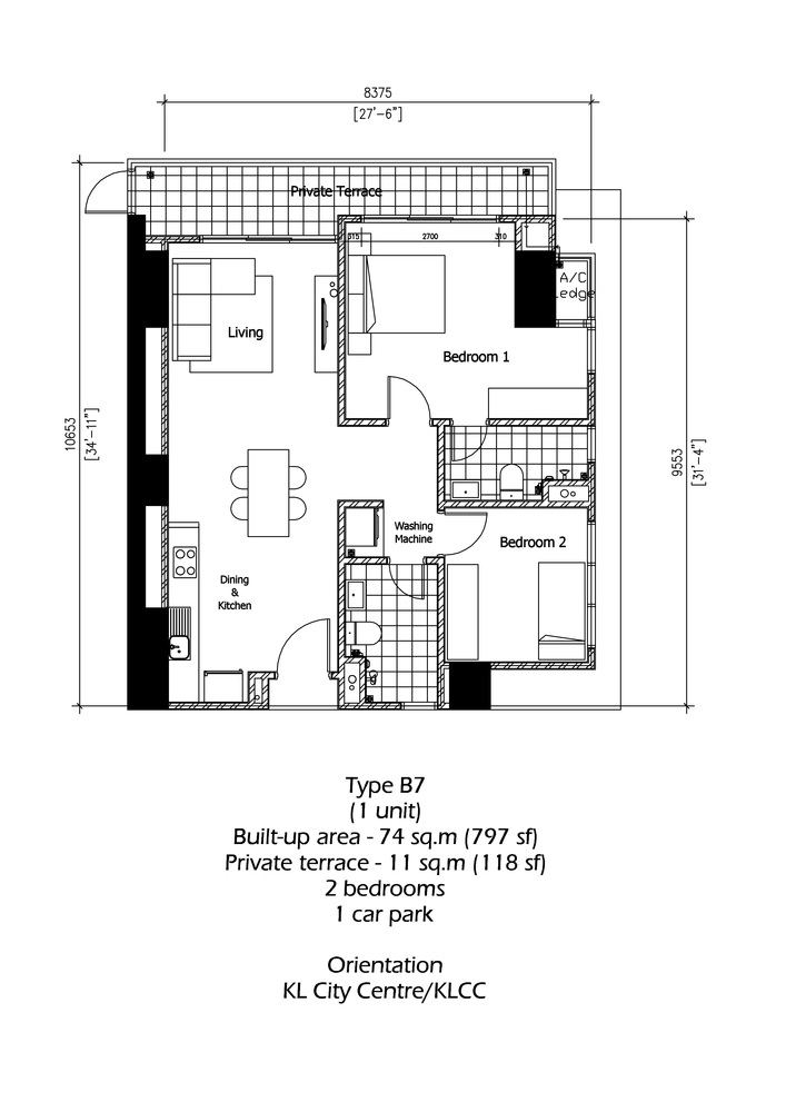 Rica Residence Type B7 Floor Plan