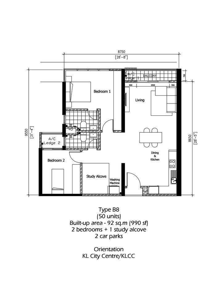Rica Residence Type B8 Floor Plan