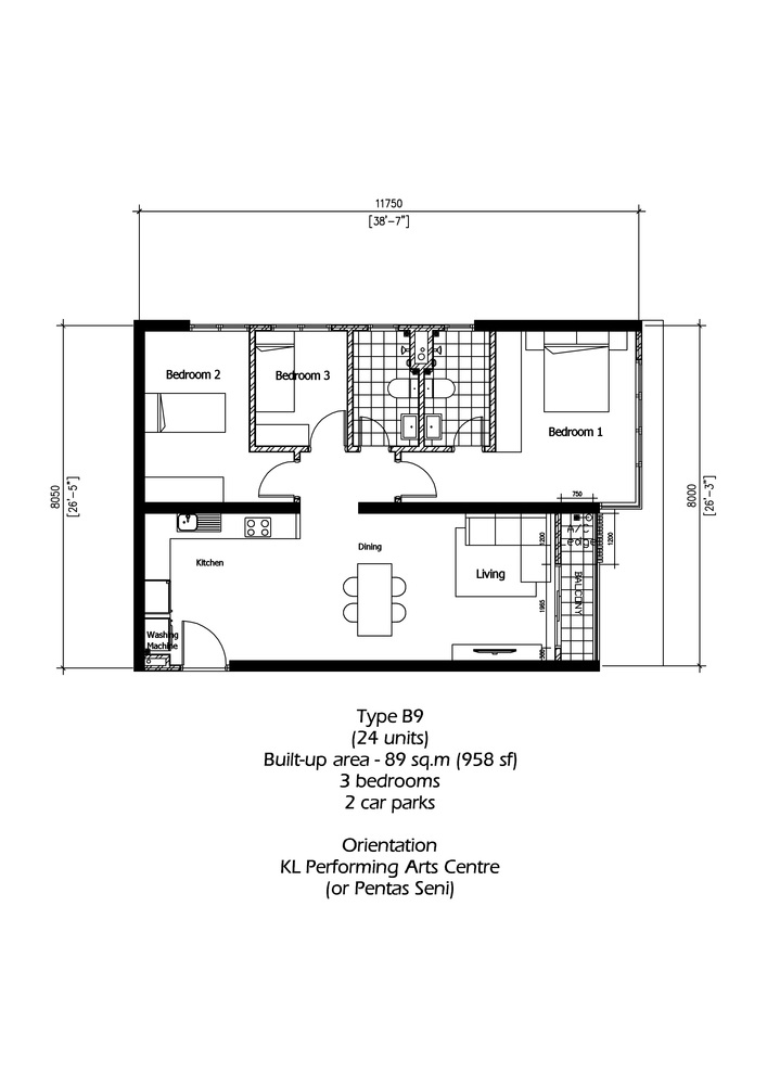 Rica Residence Type B9 Floor Plan