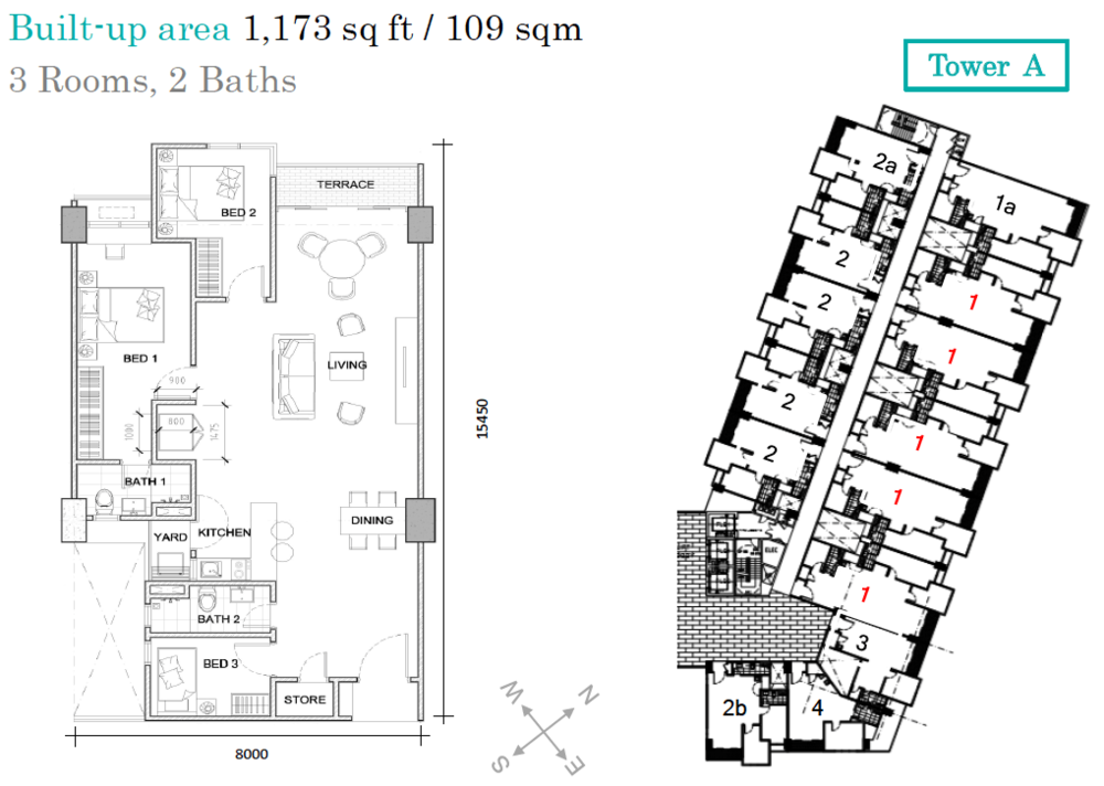 AraTre' Residences Type 1 Floor Plan