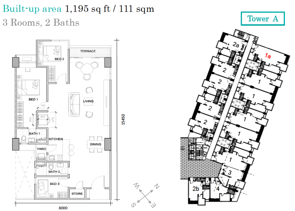 AraTre' Residences Type 1a Floor Plan
