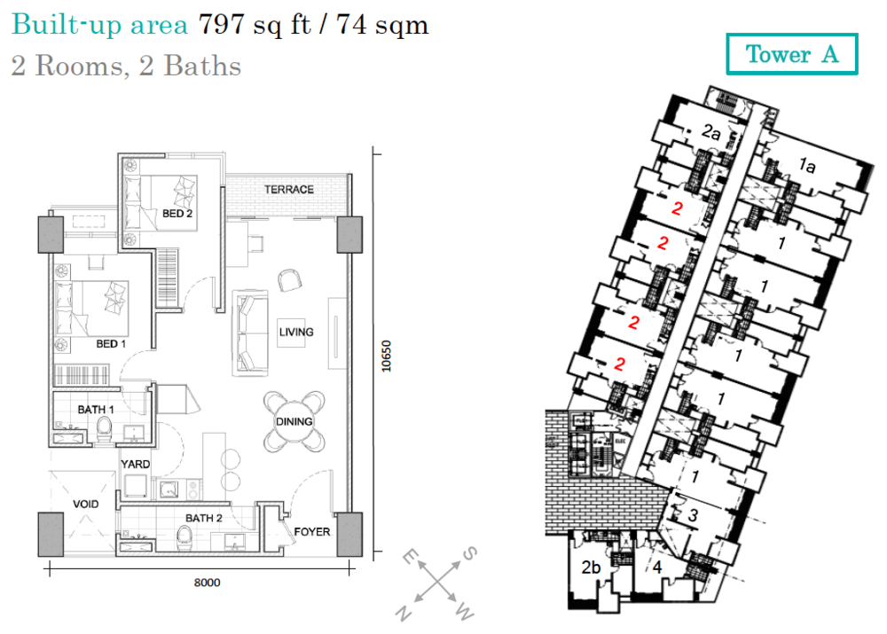 AraTre' Residences Type 2 Floor Plan