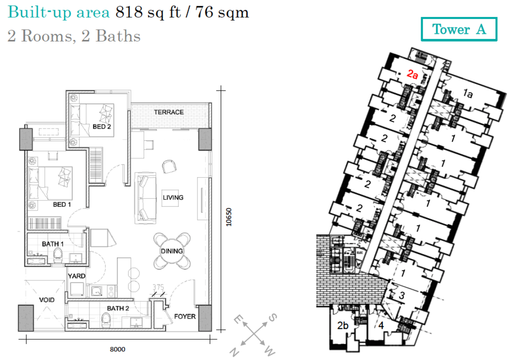 AraTre' Residences Type 2a Floor Plan