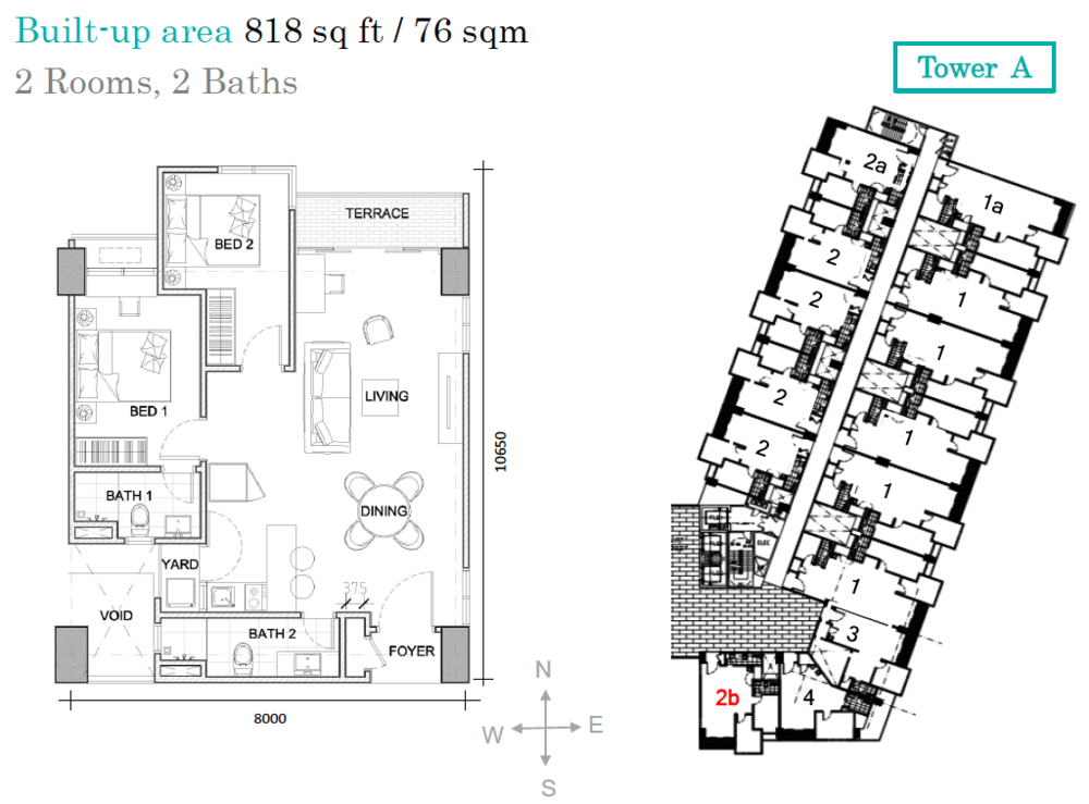 AraTre' Residences Type 2b Floor Plan