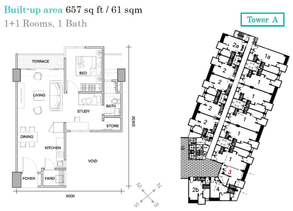 AraTre' Residences Type 3 Floor Plan