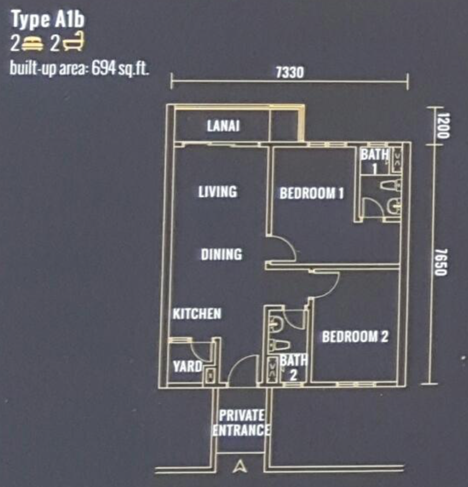 Pinnacle Type A1b Floor Plan
