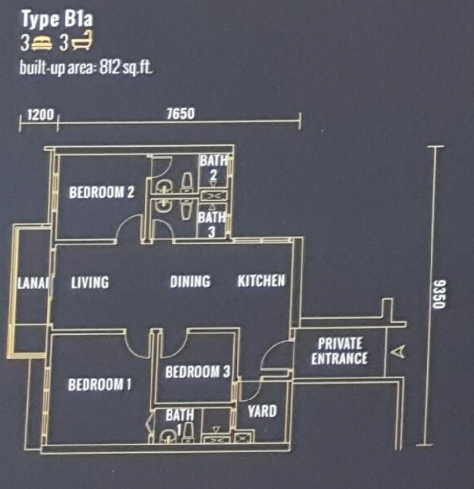 Pinnacle Type B1a Floor Plan