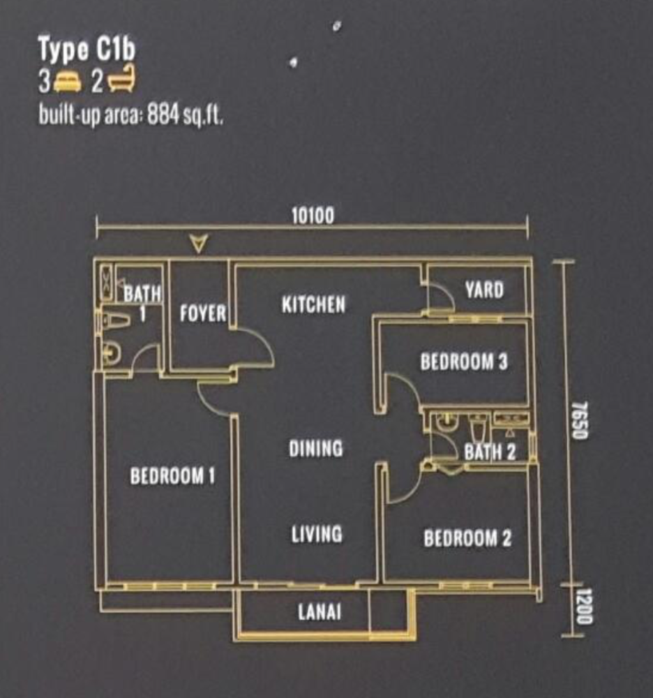 Pinnacle Type C1b Floor Plan