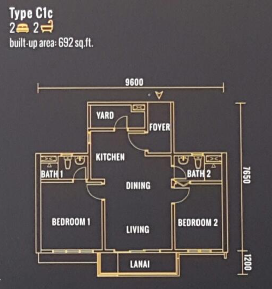 Pinnacle Type C1c Floor Plan