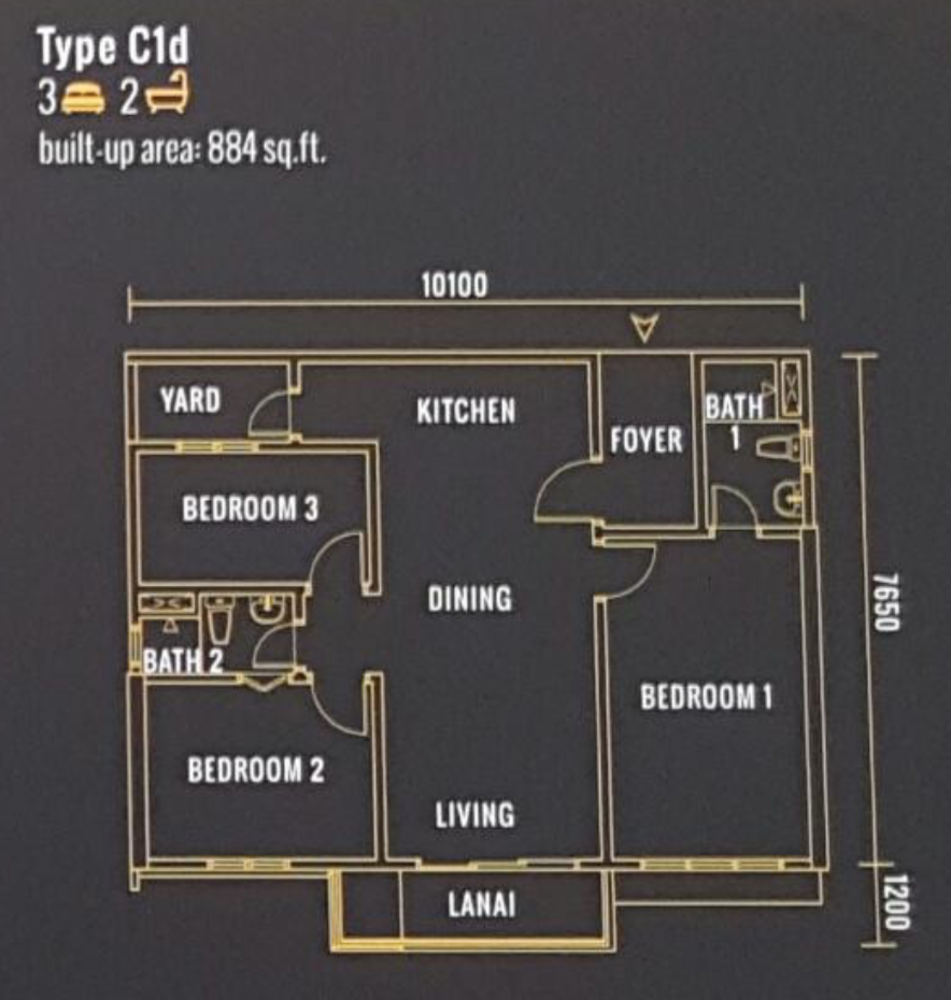 Pinnacle Type C1d Floor Plan