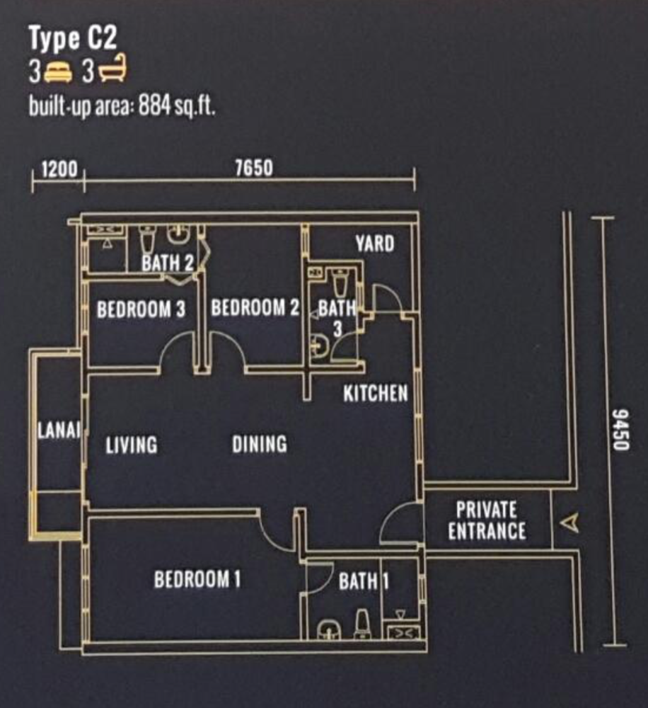 Pinnacle Type C2 Floor Plan