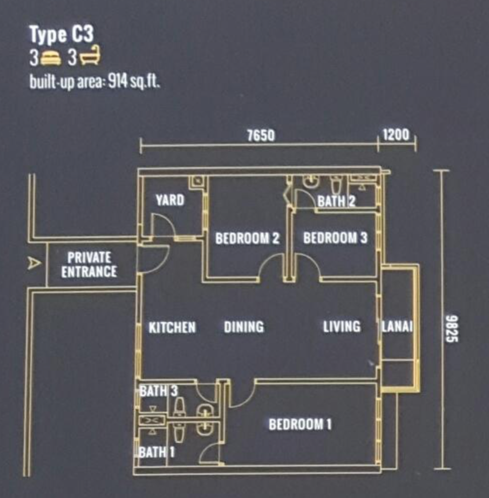 Pinnacle Type C3 Floor Plan